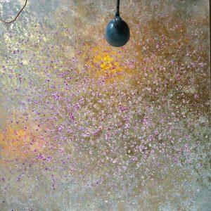Sakura Gold 200x200 Leinwand auf Keilrahmen, Öl, Blattgold, Mixed Media 8900€